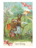 Easter Greetings  Spectacled Rabbit in Dress