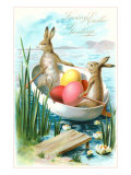 Loving Easter Greetings  Rabbits in Rowboat