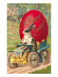 Happy Easter  Rabbit Driving Tractor