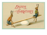 Easter Greetings  Rabbits on Seesaw