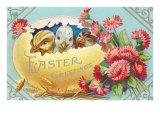 Easter Greeting  Chicks in Egg