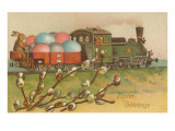 Easter Greetings  Locomotive with Eggs