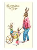 Easter Joys be Thine  Rabbit and Wheelbarrow