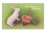 Joyous Easter  Rabbit with Wheelbarrow