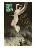 Bonne Fete  Woman Hanging from Moon