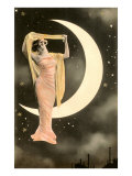 French Woman in Front of Moon