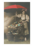 Woman under Umbrella Selling Eggs