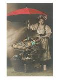 Woman under Umbrella Selling Eggs