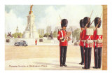 Guards at Buckingham Palace  London  England