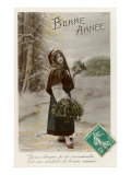 Bonne Annee  Woman Dressed Like Red Riding Hood