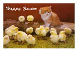 Happy Easter  Kitten and Chicks
