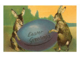Easter Greetings  Rabbits with Egg
