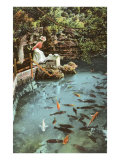 Victorian Lady by Fish Pond