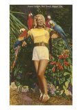Blonde with Macaws  Florida
