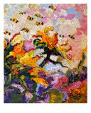 Sunflowers & Bees Oil Painting By Ginette