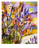 Lavender Provence Flowers Watercolor By Ginette