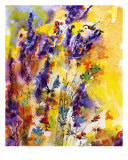 Lavender And Bees Flower Painting By Ginette