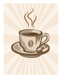 Stylized Coffee Cup Illustration  Retro Background