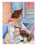 Mother Cat And Kitten A La Renoir