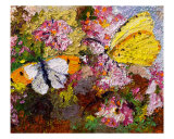 Two Butterflies On Carnations Painting Ginette