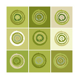 Nine Patch Green Tree Circles I