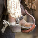 Close-Up of Cowboy Boot and Spurs at Sombrero Ranch  Craig  Colorado  USA