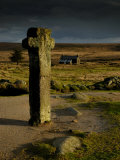 Nun's Cross  with Nun's Cross Farm Behind  Stormy Sky  Dartmoor Np  Devon  UK