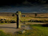 Nun's Cross  with Nun's Cross Farm Behind  Stormy Sky  Dartmoor  Devon  UK