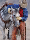 Cowboy Leading and Stroking His Horse  Flitner Ranch  Shell  Wyoming  USA