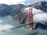 Low Clouds Clearing around the Golden Gate Bridge  San Francisco Bay  California