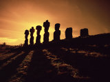 Easter Island Landscape with Giant Moai Stone Statues at Sunset  Oceania