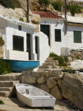 Village Houses Cut into the Cliffs  Cala D'Alcaufar  Menorca Island  Balearic Islands  Spain