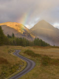 Mountain Road with Rainbow in Glen Etive  Argyll  Scotland  UK  October 2007