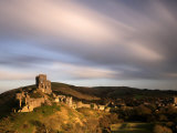 Corfe Castle and Corfe Village  Late Evening Light  Dorset  Uk November 2008