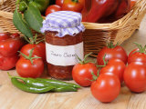 Country Kitchen Scene with Home Made Chutney and Ingredients - Tomatoes and Peppers  UK