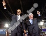 US Senator Edward Kennedy & Senator Barack Obama at a 2008 Campaign Rally