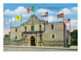 San Antonio  Texas - Exterior View of the Alamo under Six Different Flags  c1940