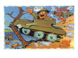 Comical Military Cartoon - Soldiers in Tanks Creating Chaos  c1942