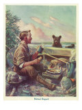 National Sportsman - Man Cooking Breakfast at Camp  Bear Altered by the Smell  c1921