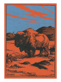 Nature Magazine - View of a Bison on the Prairie  c1951