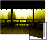 Covered Deck Looking onto Peaceful River and Fog