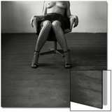 Pentacon Six Camera Shot of Topless Woman in Fishnet Stockings