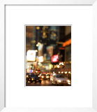 Blur of Illuminated Lights with Traffic on Busy Street in Times Square in New York City