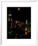 The moon over the city lights of Hong Kong