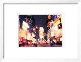 Blurred Image of Busy Street with Illuminating Lights and Signs in Times Square in New York City