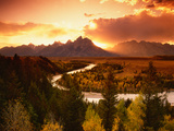 Teton Range at Sunset  Grand Teton National Park  Wyoming  USA