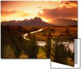 Teton Range at Sunset  Grand Teton National Park  Wyoming  USA
