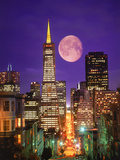 Moon Over Transamerica Building  San Francisco  CA