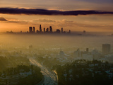 Dawn View of Downtown  Los Angeles  California  USA