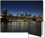 Manhattan Skyline and Brooklyn Bridge at Dusk  New York City  New York  USA